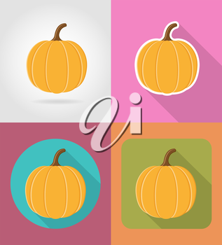 pumpkin vegetable flat icons with the shadow vector illustration isolated on background