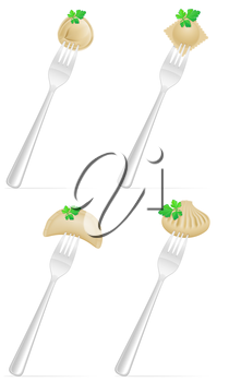 dumplings of dough with a filling and greens on fork set icons vector illustration isolated on white background
