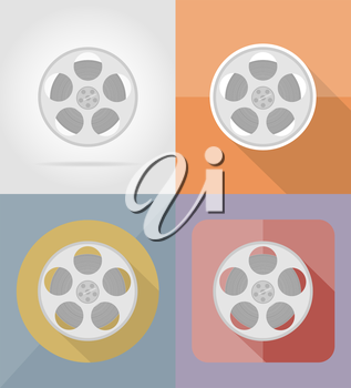 movie film flat icons vector illustration isolated on background