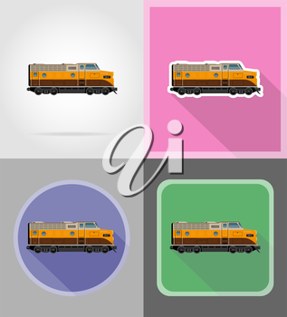railway locomotive train flat icons vector illustration isolated on background