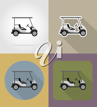 golf car flat icons vector illustration isolated on background