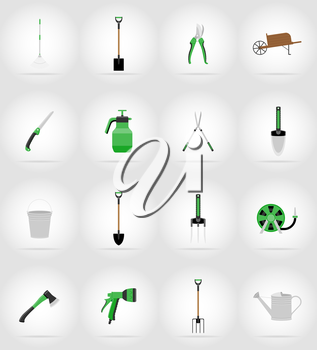 gardening tools flat icons vector illustration isolated on background