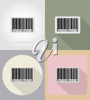 barcode flat icons vector illustration isolated on background