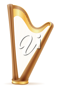 harp stock vector illustration isolated on white background