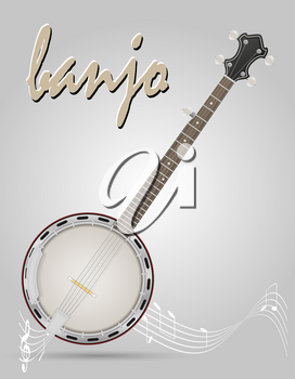 banjo musical instruments stock vector illustration isolated on gray background