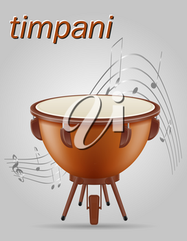 timpani drum musical instruments stock vector illustration isolated on gray background
