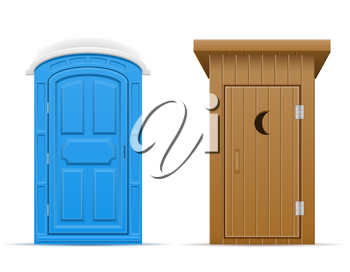 bio and wooden outdoor toilet vector illustration vector illustration isolated on white background
