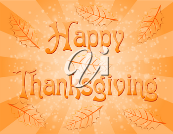 text happy thanksgiving vector illustration isolated on background