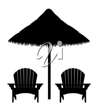 beach armchair and umbrella black contour silhouette vector illustration isolated on white background