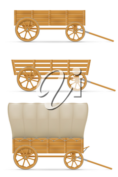 wooden cart for horse vector illustration isolated on white background