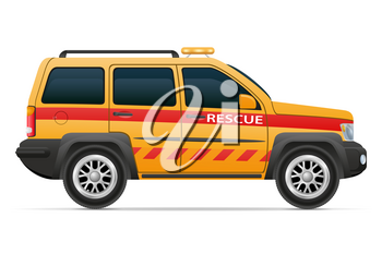 rescue lifeguard car vehicle vector illustration isolated on white background