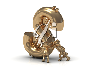 Royalty Free Clipart Image of People Lifting a Gold 3D Dollar Sign