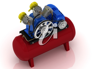 Portable compressor with rotating pulley and motor shaft