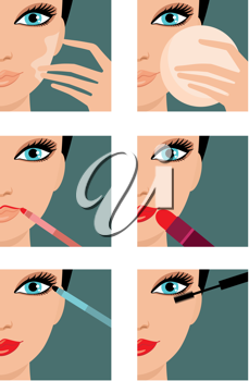 Royalty Free Clipart Image of Six Makeup Icons