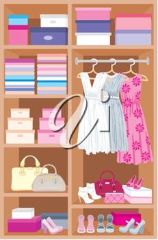 Royalty Free Clipart Image of a Closet