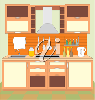 Royalty Free Clipart Image of Kitchen Cupboards