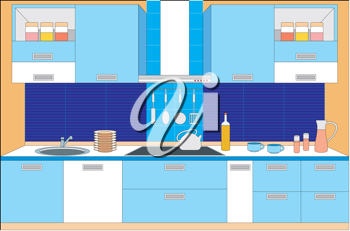 Royalty Free Clipart Image of a Kitchen