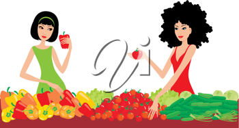 Royalty Free Clipart Image of Two Women Buying Vegetables