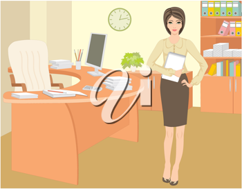 Royalty Free Clipart Image of a Woman in an Office
