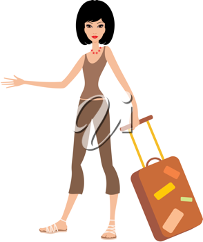 Royalty Free Clipart Image of a Woman With a Suitcase