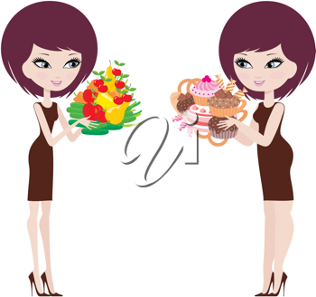 Royalty Free Clipart Image of a Women With Different Types of Food