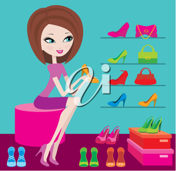 Royalty Free Clipart Image of a Woman Shopping for Shoes
