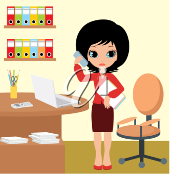 Royalty Free Clipart Image of a Woman in an Office With a Laptop