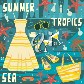 Royalty Free Clipart Image of Summer Clothes and Accessories