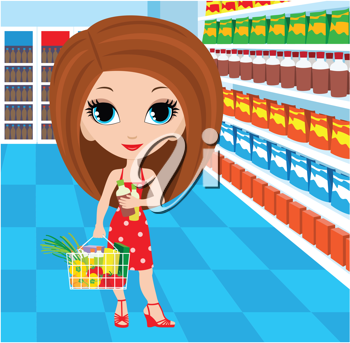 Royalty Free Clipart Image of a Chibi Woman in a Grocery Store