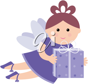 Royalty Free Clipart Image of a Fairy With a Gift