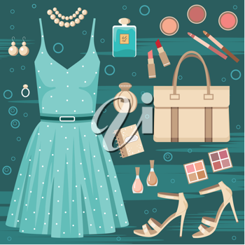 Royalty Free Clipart Image of a Fashion Set Background