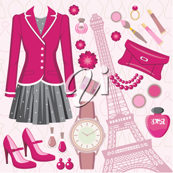 Royalty Free Clipart Image of a Fashion and Paris Background