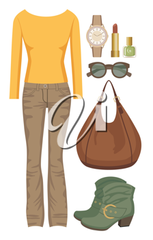 Royalty Free Clipart Image of a Jeans and Sweater Set With Accessories