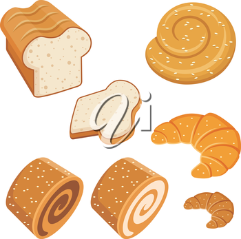 Set of loaves and bread. vector