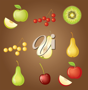 Set of fruit. vector, gradient, transparency, EPS10