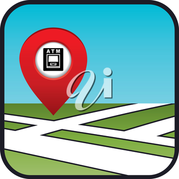 Street map icon with the pointer ATM. vector, gradient, EPS10