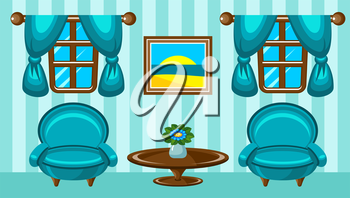 Picture dining room with design elements. Vector illustration