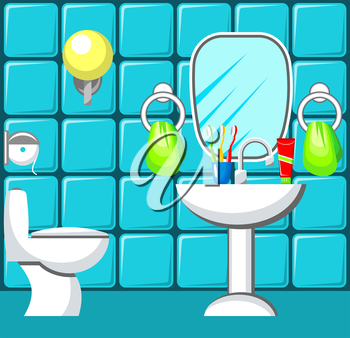 Preview bathroom with design elements.   Vector illustration