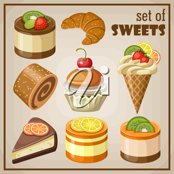 Set of sweets.Vector illustration