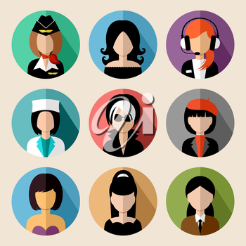 Image of flat round icons with women of different species.  vector illustration