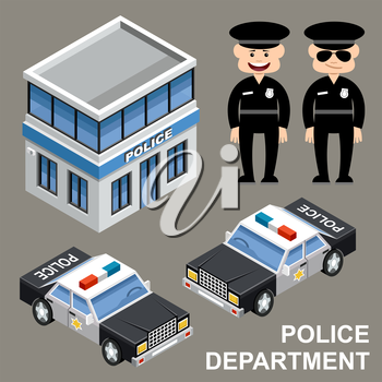 Police department. Building, police cars and police officer. Vector illustration