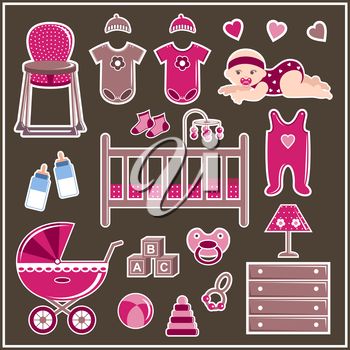 Set of clothes, furniture and items to care for a little girl. Vector illustration