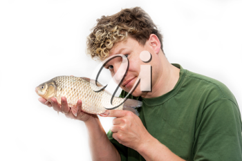 a man with a fish on a white background
