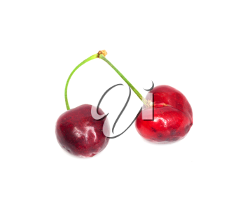 Cherries; objects on white background