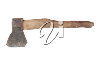 Old axe on white background