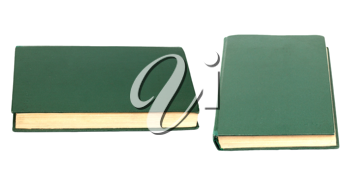 Green books on white background isolated