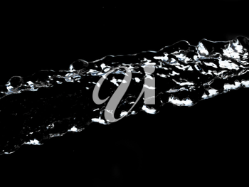 stream of water on a black background