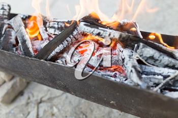 burning wood in a brazier