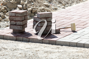 paving slabs at the construction site