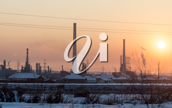 Industrial Plant at sunset